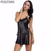 Lace Woman Nighties V Neck Lenceria Porno Side Slit Satin Sleepwear Nuisettes Sexy Lingerie Dress Intimate