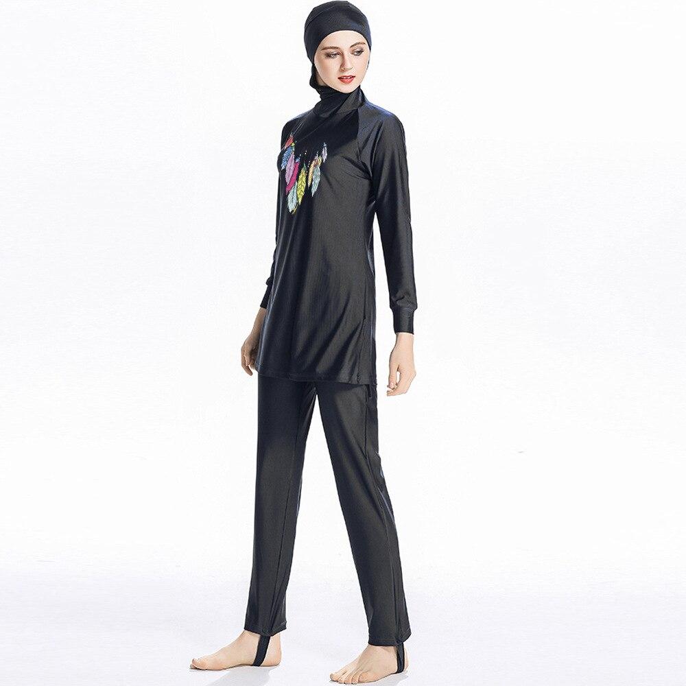 Print Islamic Swimwear Women Girls Muslim Swimwear Full Cover Modest Islamic Swimming Suits Plus Size Burkinis