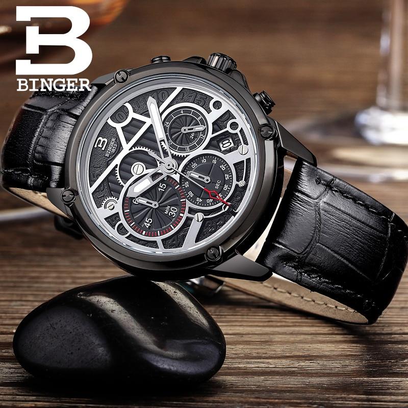 Suisse montre pour hommes de luxe marque horloge BINGER Quartz hommes montres en cuir véritable chronographe Diver glowwatch B 6008 6-in Montres à quartz from Montres    2