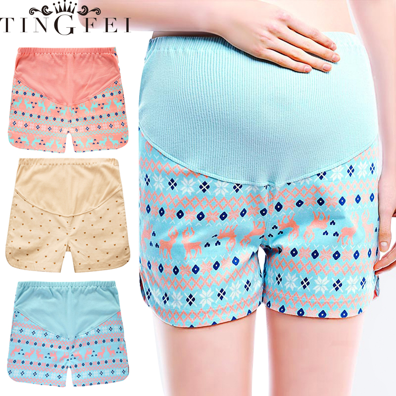 TINGFEI  Adjustable Maternity Short Pant Leggings Pregnant Women Loose Soft Cotton High Waist Belly Support Breathable Summer
