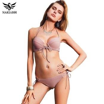 NAKIAEOI 2018 New Sexy Bikinis Women Swimsuit Push Up Swimwear Bandage Cut Out Bikini Set Halter Beach Bathing Suits Swim Wear 1