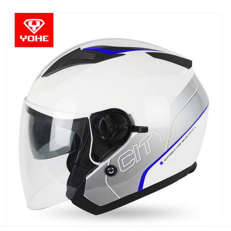 2017 summer New YOHE Double lens half face Motorcycle helmet 3/4 open face ABS Motorbike helmets electric bicycle Safety hat cap 2018 new cotton baby boy clothes summer toddler boys striped rompers sunhat 2pcs clothing set gentleman suit kids clothes