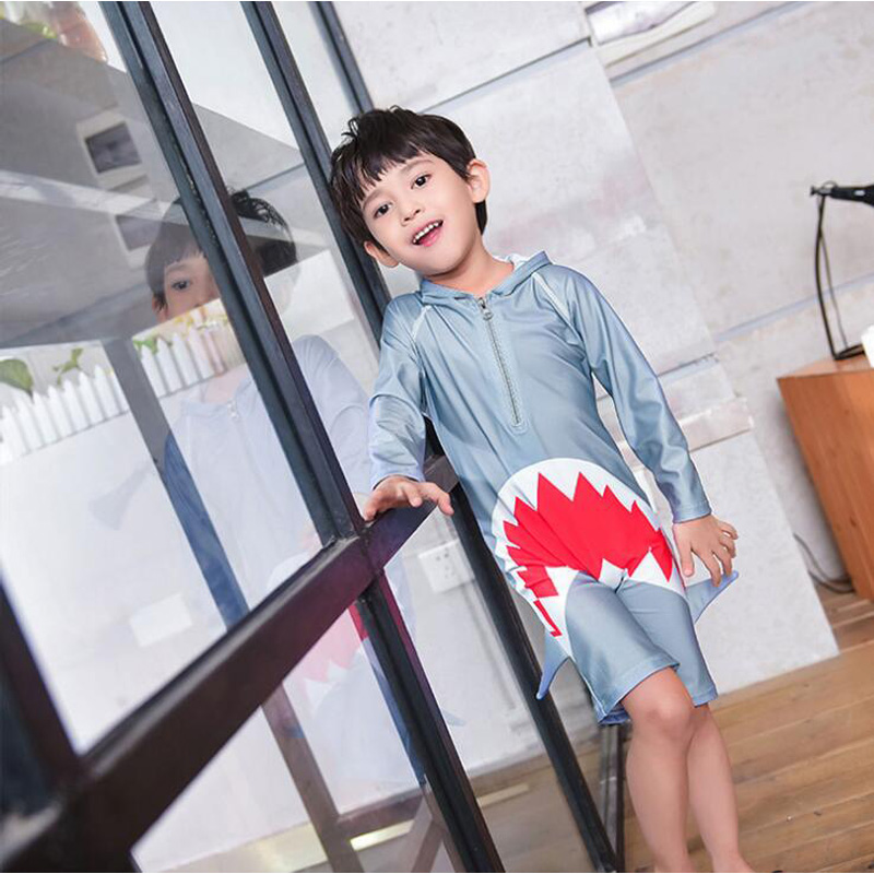 Jersqons UPF50+ Chlidren Swimsuit One Piece Swimwear Summer Shark Style for Kids Boy Bathing Suits
