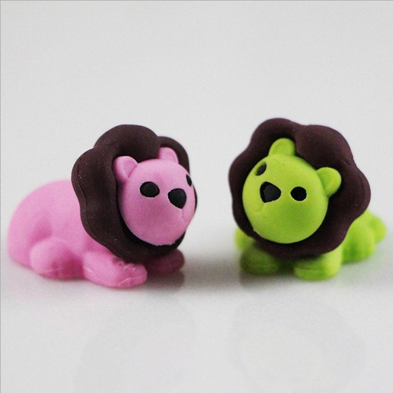 Купить с кэшбэком 1X cute Cartoon eraser mini lion modelling eraser children stationery gift prizes  kawaii school office supplies papelaria