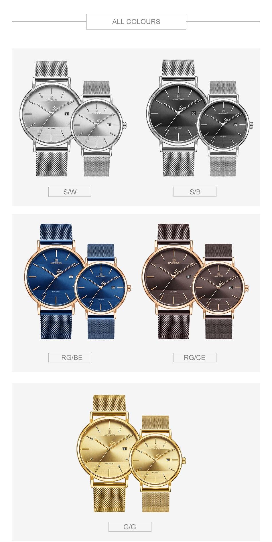 NAVIFORCE New Stylish Women Watches Top Brand Luxury Stainless Steel Strap Quartz Wristwatch For Woman Bracelet Watch 2019 Gift (13)