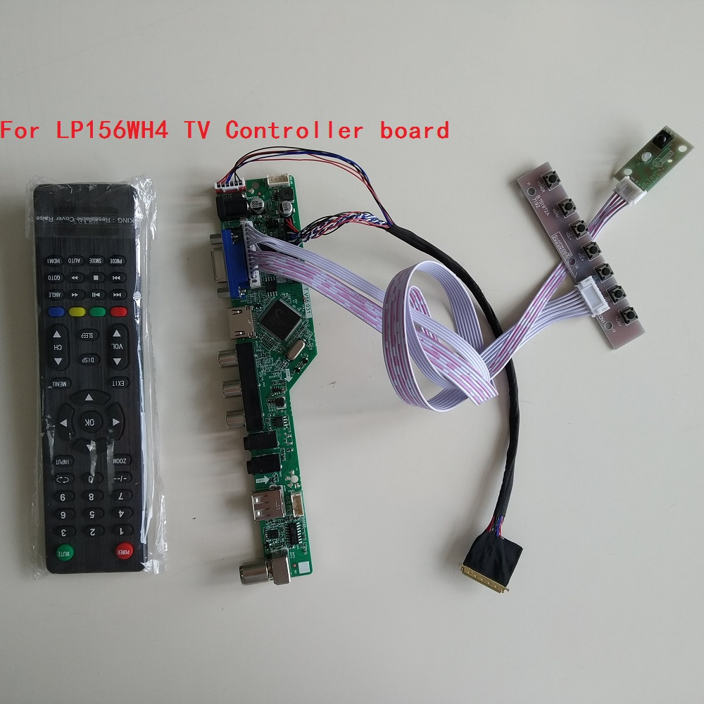 TV HDMI TV56 Controller Board USB LCD VGA  RF LED AV Audio Remote Kit For LG Display LP156WH4 1366X768 Panel Screen 15.6