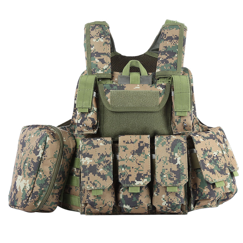 Hunting Tactical Vest With Many Pockets Military Molle Plate Carrier For Mens Airsoft Hunting Black Camouflage