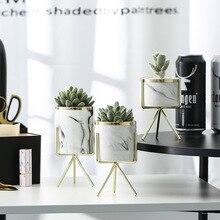 Скандинавском стиле мраморный узор золотой край Утюг Ceramia Art Ваза стол цветочный горшок Свадебные украшения дома Декор для гостиной