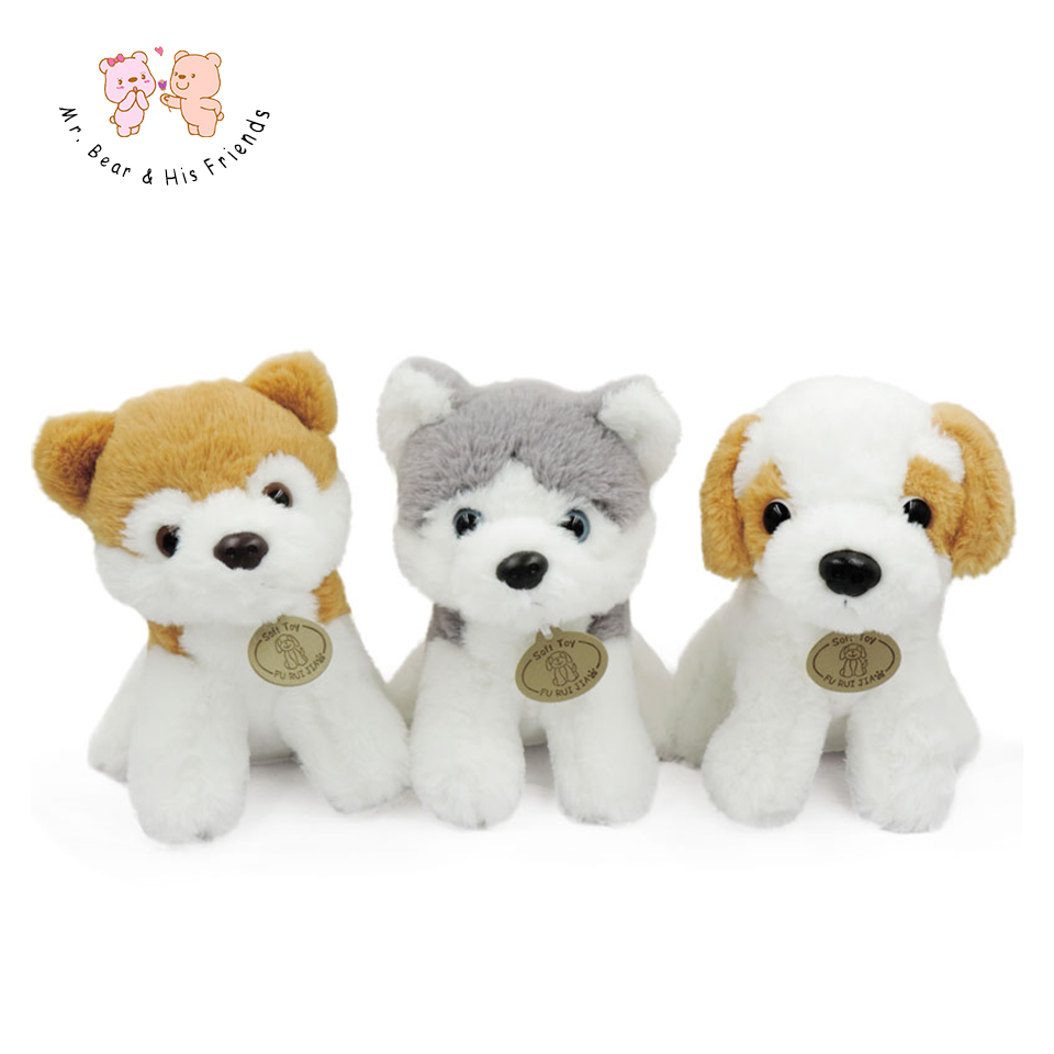 20CM Stuffed Simulation Animals Dogs Sitting Huskie/Pomeranian/Basset Dog Plush Toys Soft Dolls Chidren Kids Gifts Collection new electronic wristband patrol dogs kids paw toys patrulla canina toys puppy patrol dogs projection plastic wrist watch toys