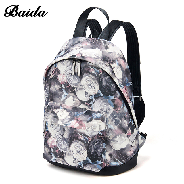 2d9a78236db47 البيضاء الأزياء النساء الظهر بارد الأزهار طباعة محمول المدرسة كتاب حقائب  السفر حقائب لأوقات الترفيه للفتيات