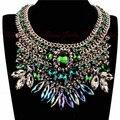 2014 Joyería de Moda de Nueva Exaggerate Accesorios Partido de Las Mujeres de Lujo 4 de Cristal Multicolor de Oro Cadena Declaración Gargantillas Collares
