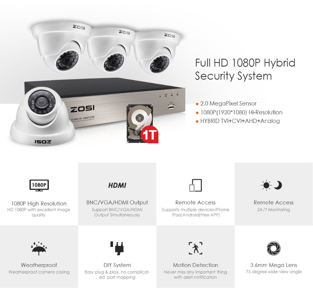4 channel security system 418w-1080p_01+1t