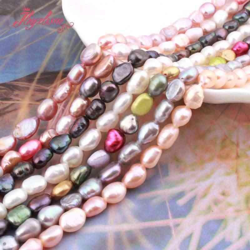 """4-6x5-8мм пресноводный жемчуг свободная форма натуральный камень бусины для ожерелья Браслет спейсеры для украшений Strand 14 """"Бесплатная доставка"""