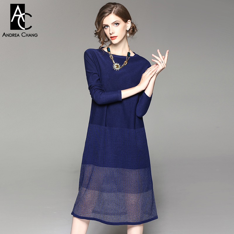 цена на autumn winter woman dress dark blue wine red loose knitted dress calf length hollow out bottom casual XXL plus size dress long