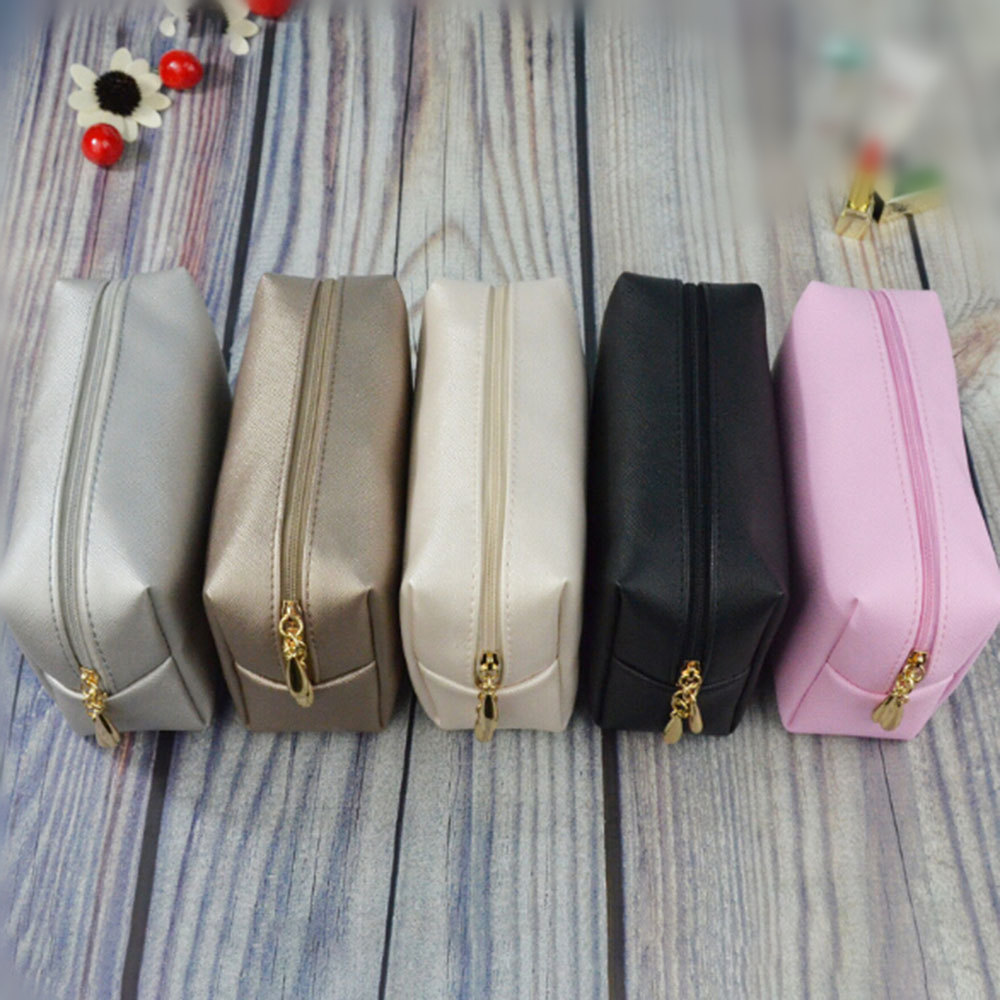 1 Pc Leather Zipper Cosmetic Bag Women Simple Travel Beauty Case Portable Wash Makeup Bag Make Up Organizer Holder Dropshipping