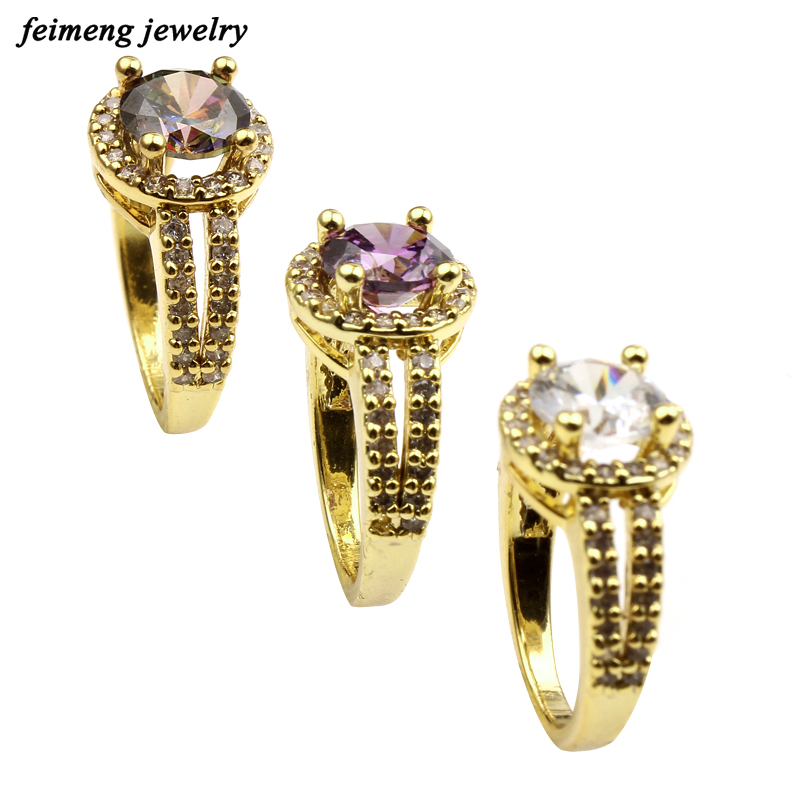 2017 Design Women Gold Copper Ring Jewelry Double Paved Zircon Simulate Wedding Engagement Ring for Women Christmas Gift