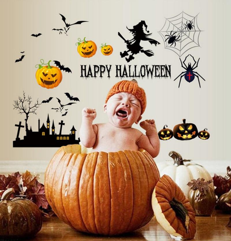 buy 2016 new arrival happy halloween wall sticker creative pumpkin scary bat. Black Bedroom Furniture Sets. Home Design Ideas