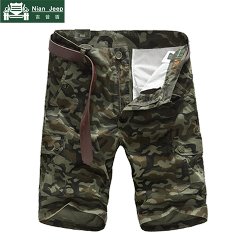 NIANJEEP 2018 New Summer Camouflage Cargo Short Men Casual Short Regular Pockets Military Trousers Size M-4XL Pants No Belt