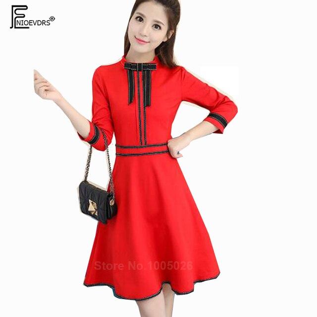 3945203808 A Line Dresses Women Fashion Autumn Fall Design Cute Bow Sweet Slim Girls  Three Quarter Vintage