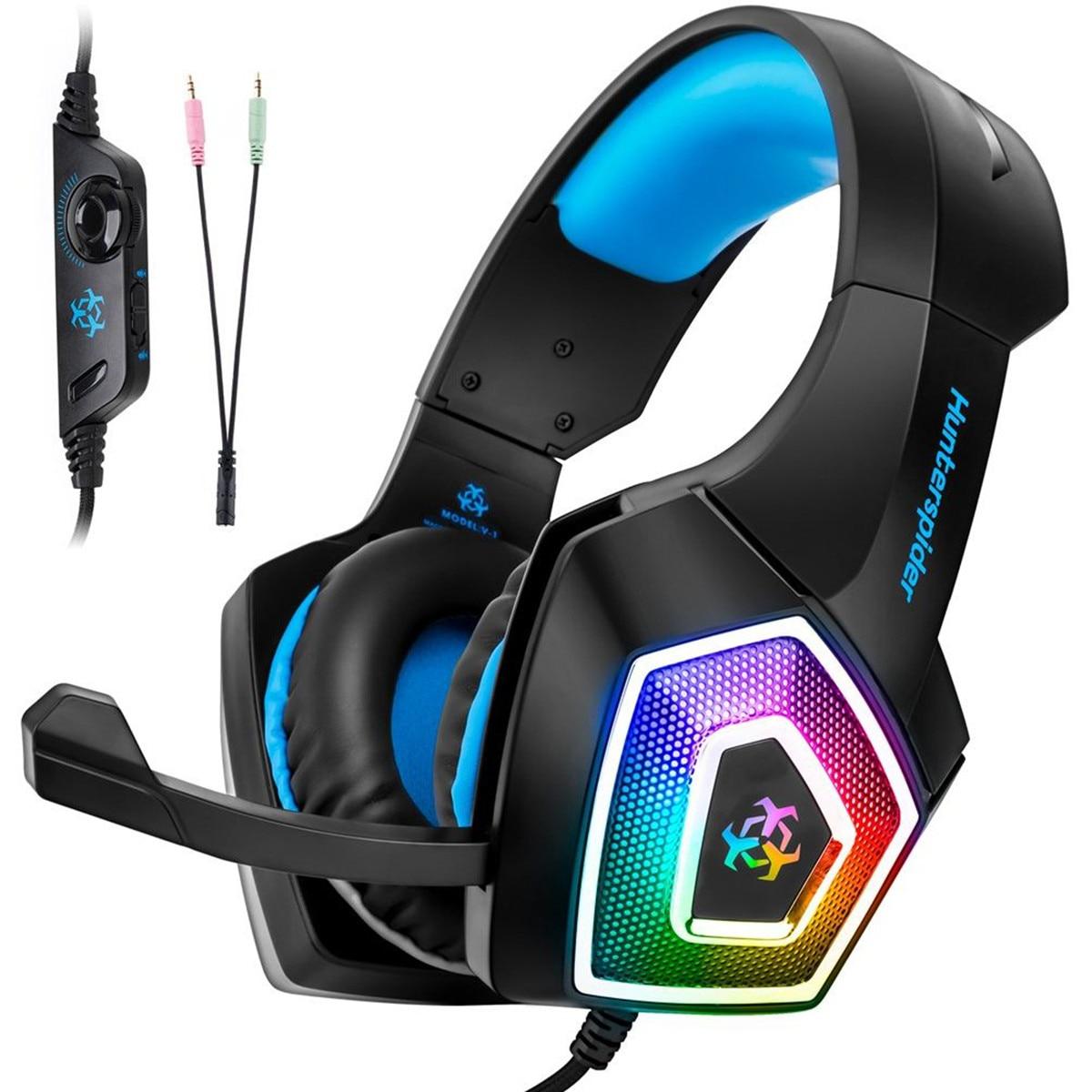 hunterspider v1 wired gaming headset 7 color led lights low distortion with mute button volume. Black Bedroom Furniture Sets. Home Design Ideas