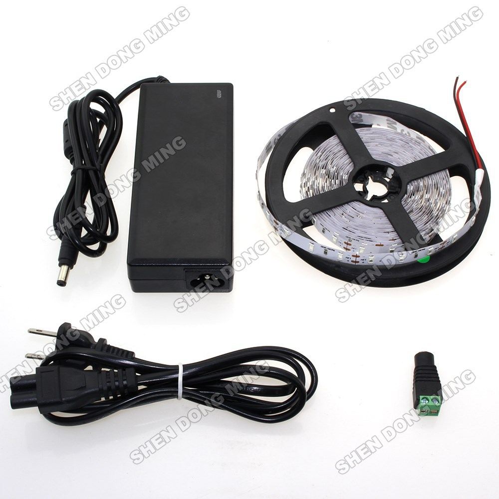 ФОТО 5630 smd LED Strip flexible Light tape ribbon 60leds/m + 12V 6A Power Adapter + DC connect Warm/Nature white home decoration