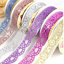 DIY Grind Colorful Lace Flower Tape Scrapbooking Decoration Roll Tape Candy Color Decorative Sticker Self Adhesive Sticky Paper(China)
