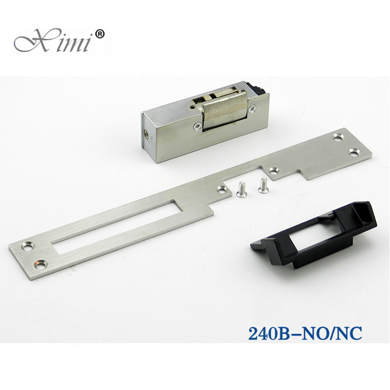 Fail Safe NO Narrow-Type Long-Type Door Electric Strike Lock for Access Control 12V DC Power To Open Electric Door Lock System silver electric strike door lock dc 12v for access control system electromagnet fail safe electric bolt lock