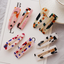 2019 New Dot Print Geometric Hollow Square Drop Hairpins For Women Trendy Acrylic Resin Hair Clips Korea Jewelry
