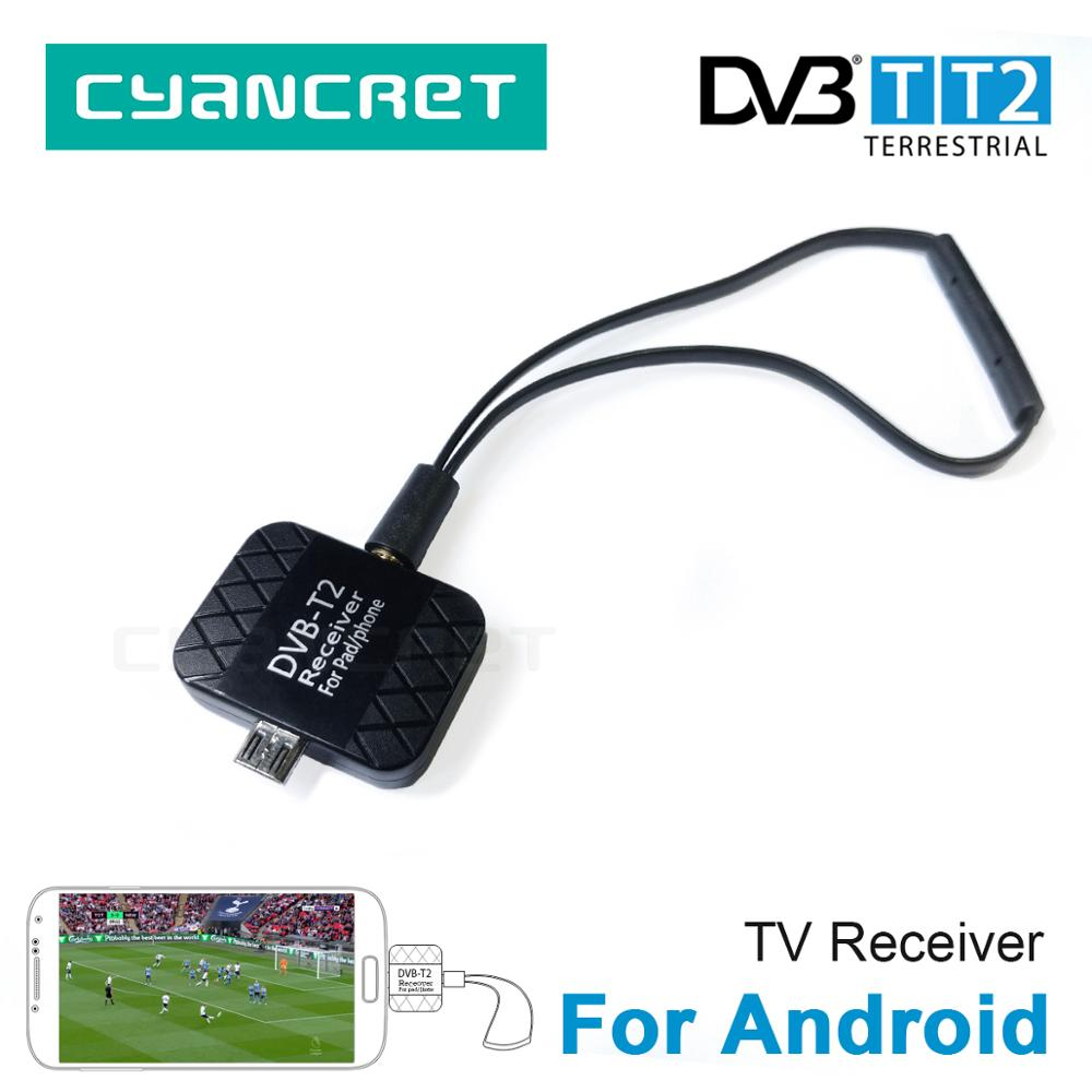 DVB-T2 DVB-T HD Digital TV Tuner TV Receiver for Android Mobile Phone Tablet Pad TV HDTV Dongle with Micro USB Two Antenna(China)