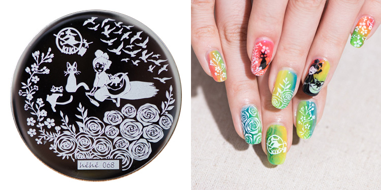 New Stamping Plate hehe68 Flowers Roses Anime Kiki's Delivery Service Little Witch Nail Art Stamp Template Image Transfer Stamp