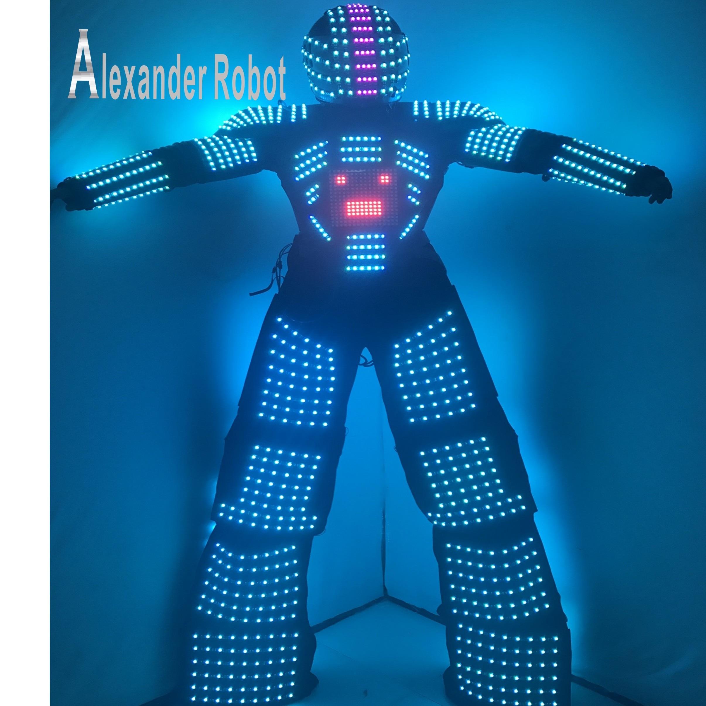 LED robot Kostým / led světla kostýmy / LED Oblečení / Lehké obleky / Video na hrudi, Programování přilby / LED Robotové obleky