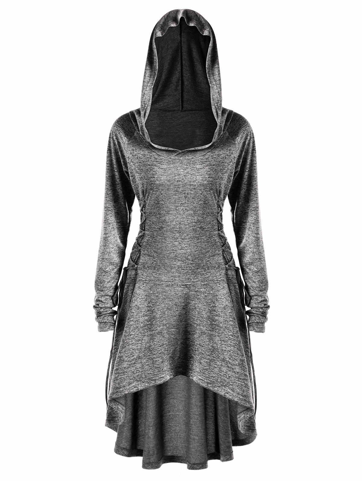 ac1ba7307bf Gamiss Autumn Women Casual Long Hoodies Sweatshirt Plus Size Lace Up Dip  Hem Hoodie Femme Bts