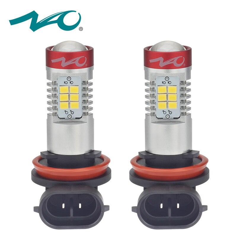 NAO 2x h11 led car hb4 led bulbs DRL Fog Light h8 hb3 car led light 12V h9 9005 h10 auto 9006 Daytime Running Lights lamp 6000K
