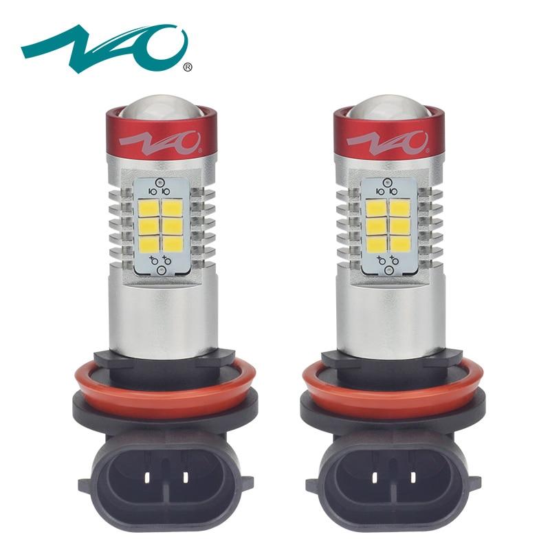 NAO H11 LED COCHE luces de niebla H10 bombillas led 9005 1200lm H8 coche luz DRL 12 V hb3 auto 9006 hb4 h9 luces diurnas lámpara 6000 K