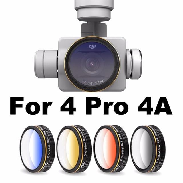 Lens Filtreler Kademeli Kırmızı Mavi Turuncu Gri Filtre DJI Phantom 4 PRO için Gelişmiş Drone Kamera Lensi Parçaları