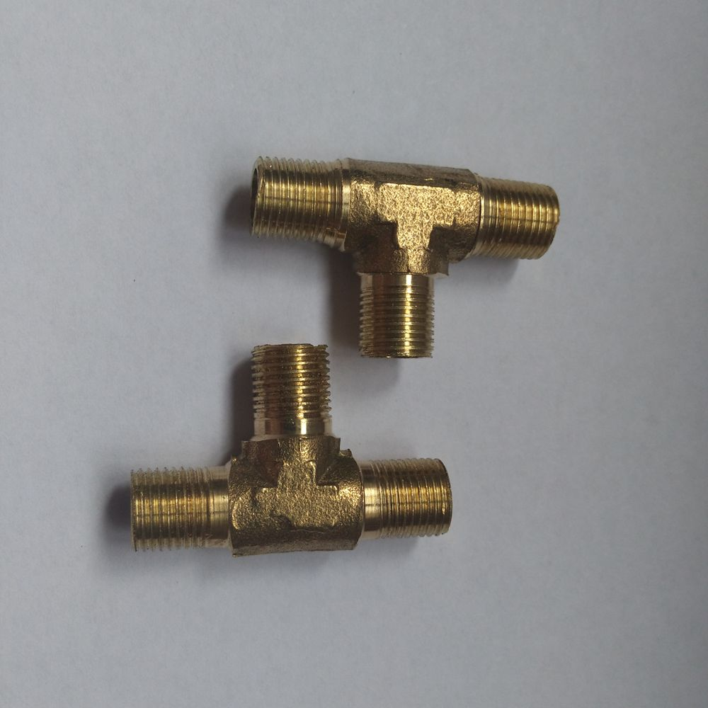 Tee Type 3 Way Brass Pipe Fitting Connector 1/4 to 1/4 to 1/4 BSP Male Thread for Water Fuel Gas Tube