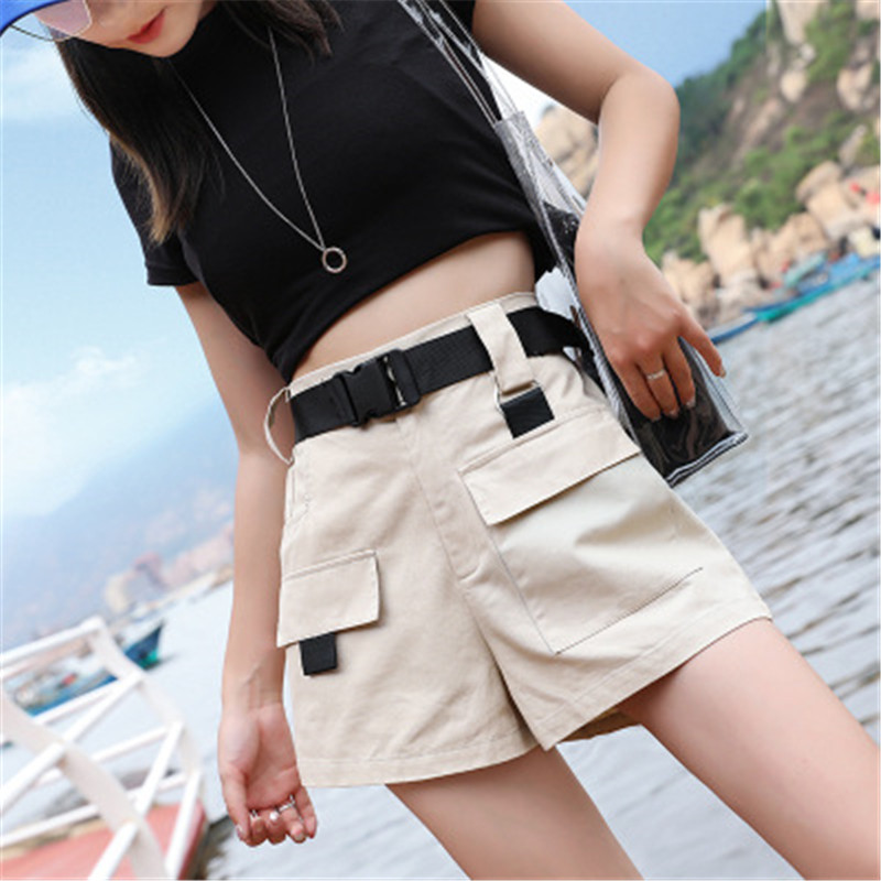 LASPERAL Women High Waist Wide Leg Cargo   Shorts   Black Sashes Pocket Women   Shorts   2019 Summer Vintage Zipper Safari Female Clothe