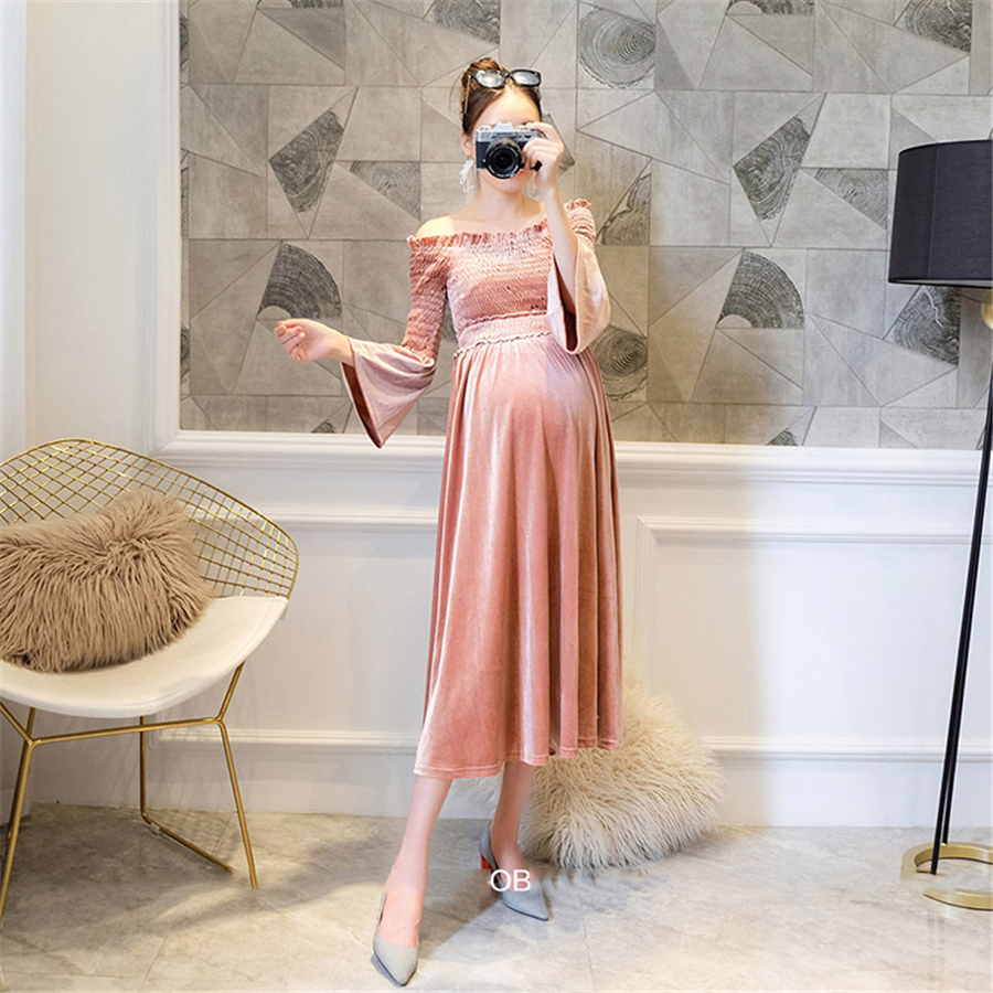 Maternity Dress Elegant Fashion Pregnant Women Autumn Party Dress Retro Shoulderless Maternity Dresses Hamile Giyim New 70R0177