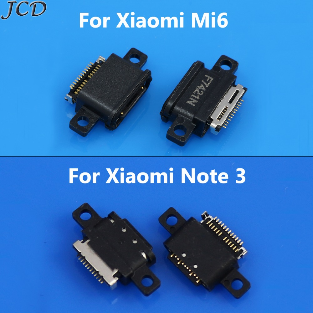 JCD 2pcs/lot Mini Micro USB Jack Connector Socket Plug Dock 5pin Female Parts For Xiaomi Note 3 Note3 6 Mi6 Mi 6 Charging Port
