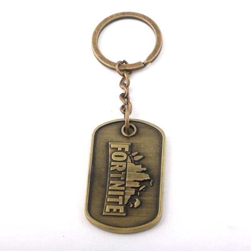 M2 New Game Fortnite Keychain Hot FPS Game Fortnite Logo Antique Bronze Plated Alloy Keyring Pendant Men Women Jewelry