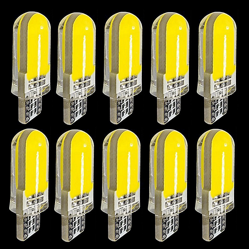 10PCS T10 194 2825 WY5W W5W COB LED Silica Gel Waterproof Wedge Light 501 Silicone Shell Car Reading Dome Lamp Auto Parking Bulb