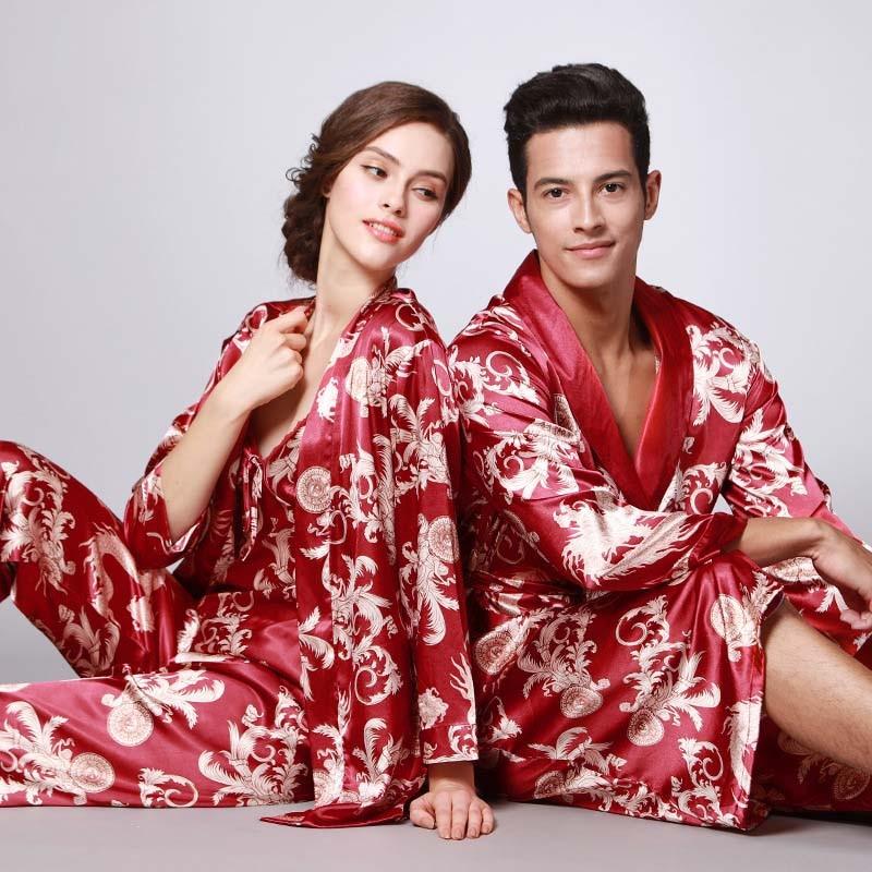 Lovers Spring Stain Silk Pajamas Womens Three-piece Set Mens Bathrobe Nightgown Pajama Set