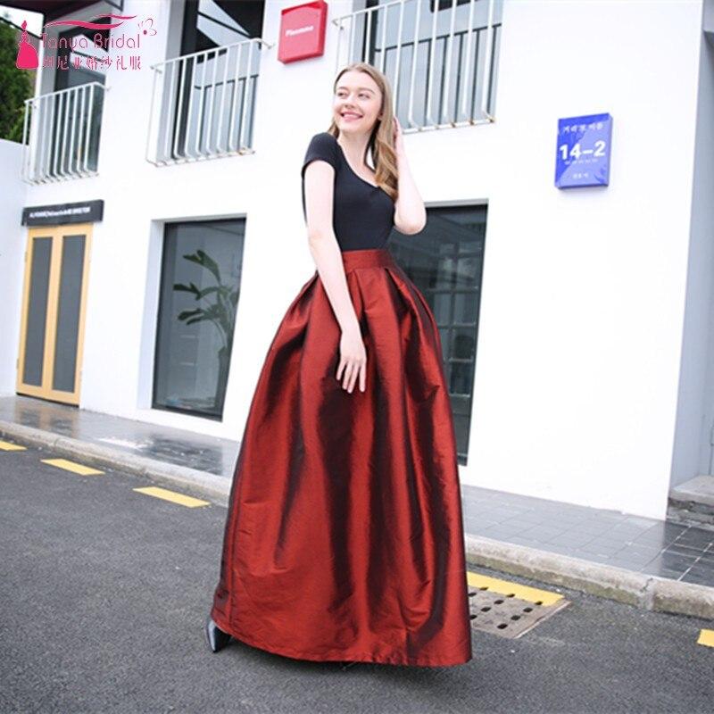 A Line Long Taffeta Prom Dresses Burgundy Blue Black Simple Formal Dress Women Skirt
