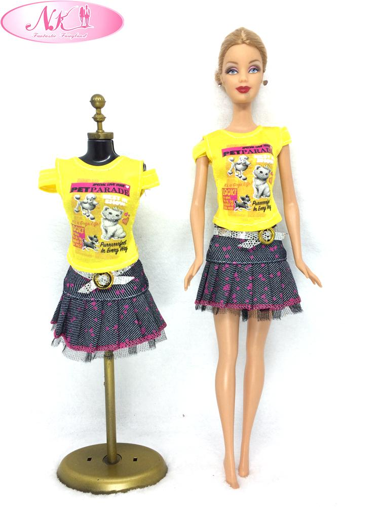 NK One Set Doll Clothes Fashion Outfit Jeans Skirt Cartoon Printing Clothesing For Barbie Doll Girl Favourite Gift Party Gown