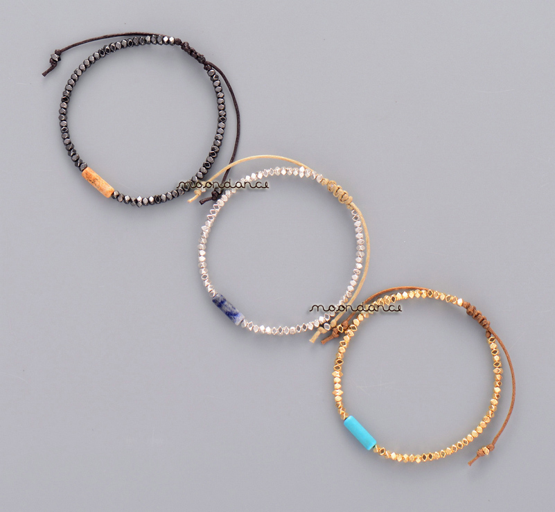 Simple Metal Beads and Natural Stone Wax Cord Adjustable ...
