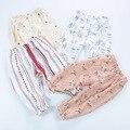 0-3 da menina do Algodão Do Bebê fina Verão calças De Linho florais criança stirpe bloomers meninas roupas calças inferior roupas bebes fille