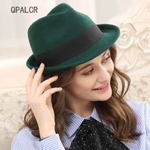 QPALCR Retro Wool Felt Hat Women Men Wool Fedoras Black Pana
