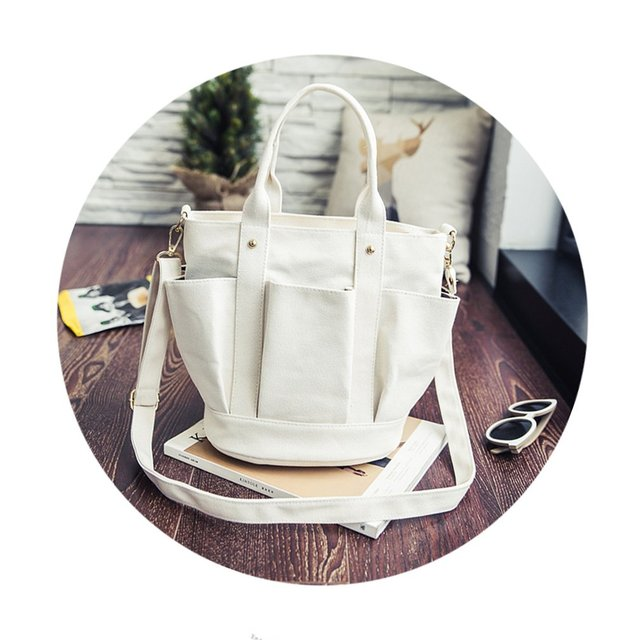 Fashionable Female Solid Color Handbags Women Casual Canvas Tote Bags Vintage Women Handbags Ladies Crossbody Bags 2