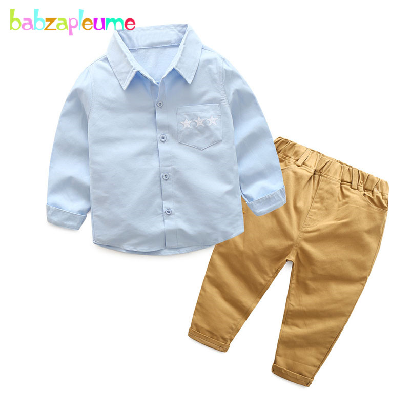 2 шт/Демисезонный Одежда для маленьких мальчиков Модная Повседневная рубашка + Брюки для девочек Корейская одежда для детей Детский костюм ...