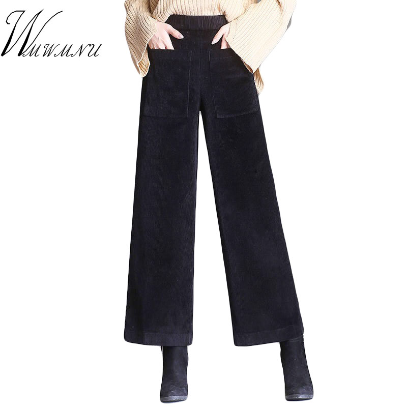 Women Casual Elastic Waist Corduroy Trousers High Quality Solid Colors Loose   Wide     Leg     Pants   Spring Autumn Ankle-Length   Pants   3XL